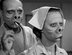 1960 ... 'The Eye of the Beholder' -Twilght Zone. Maxine Stuart as Janet Tyler (under bandages), Donna Douglas as Janet Tyler (unmasked), William D. Gordon as Doctor Bernardi, Jennifer Howard as Nurse, Edson Stroll as Walter Smith, George Keymas as The Leader, Joanna Heyes as Nurse #2