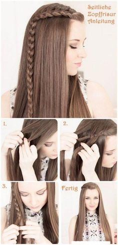 side braid Flechtfrisuren Hair Tutorial would be cute with curls too. Fast easy hair do Pretty Hairstyles, Girl Hairstyles, How To Do Hairstyles, Elegant Hairstyles, Latest Hairstyles, Hairstyles For Winter, Braid And Curls Hairstyles, Simple Braided Hairstyles, Wedding Hairstyles