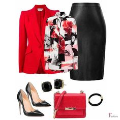 Work Skirts, Red Blazer, Office Fashion, What I Wore, Business Casual, Blouse Designs, Polyvore Fashion, Outfit Of The Day, Midi Skirt