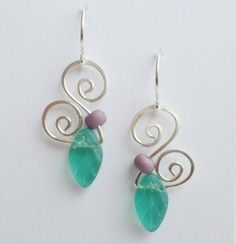 Double Spiral Leaf Earrings by carolynrochedesigns on Etsy, $24.00