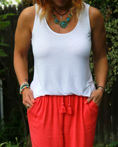 Coral Lounge Pants, White Tank And Turquoise Necklace