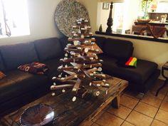 Arbolito Navidad de madera con cerámica Regina