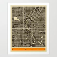 DENVER MAP Art Print by Jazzberry Blue - $19.00