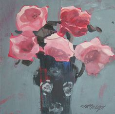 Pink Roses by Mhairi McGregor RSW at Lime Tree Gallery in Suffolk & Bristol, England Pink Roses, Pink Flowers, Painted Flowers, Glasgow School Of Art, New Artists, Art Fair, All Art, Flower Art, Flower Power