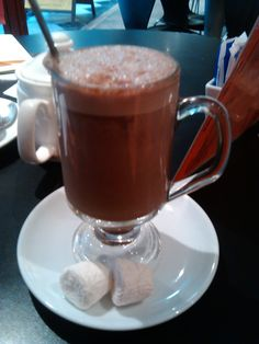 Typical Powder made on steamed milk Hot Chocolate in 'Perc Up' on the top floor of the St Stephen's Green Shopping Centre in Dublin