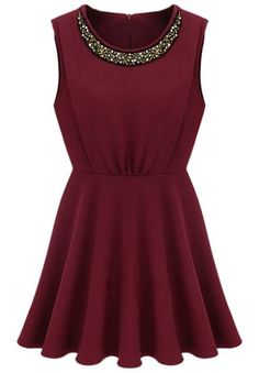 Red Round Neck Sleeveless Bead Pleated Sundress pictures