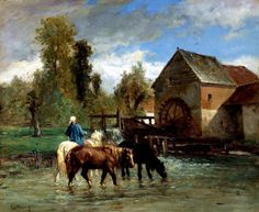 Constant Troyon (FRENCH, 1810-1865) - WATERING