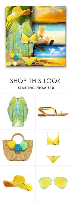 """""""Yellow Swimwear! - Contest!"""" by asia-12 ❤ liked on Polyvore featuring Caffé, JADEtribe, Lisa Marie Fernandez and Victoria Beckham"""