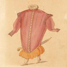 Ballet costume design for A Hocricane in the burlesque ballet La Douairère de Billebahaut, watercolour drawing with handwritten annotation by Daniel Rabel, France, 1626