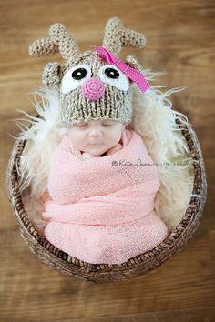 Reindeer Hat - Rudolf - Pink Reindeer Hat - Baby Girl Hat - Christmas - Holiday - Newborn Photo Prop - Sizes Newborn - Toddler