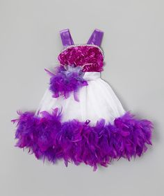 This Purple & White Sash Boa Dress & Clip - Infant, Toddler & Girls is perfect! #zulilyfinds