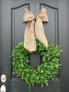 boxwood wreath, burlap bow