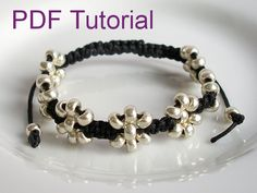 PDF Tutorial Beaded Flowers Square Knot Macrame Bracelet Pattern by Purple Wyvern Jewels                                                                                                                                                                                 More