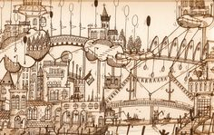 """""""A strange vision of my Venice"""" by Fabrizio 'Bicio' china seppia su carta 50x70"""