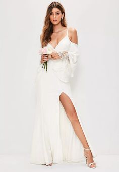 missguided does monogamy...the new missbrided collection is here  Make a huge impact on your big day wearing this maxi dress - featuring a cold shoulder, lace underlay detailing, flared sleeves, split detailing and plunge neckline. You'll...