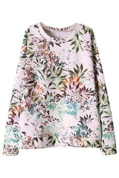Nature-Inspired Foliage Pattern Sweatshirt