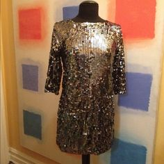 "MAJE Sequin Sheath Dress Authentic Maje. In excellent condition. Worn once. Square neck, 3/4 sleeves, fully lined, light sequin short dress. Understated but beautiful. Perfect for those holiday parties. Marked size 0 but fits a small 2-4. Length from shoulder is 31"". Very elegant. Purchased at Maje store in NYC for over $600. ❌Reasonable offers only❌ Maje Dresses Mini"