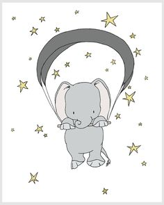 Elephant Nursery Art - Elephant Starry Night