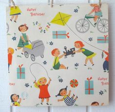 Mid-Century Modern Vintage Birthday Gift Wrap Paper –kids – looks a little like Mary Blair's drawings of children