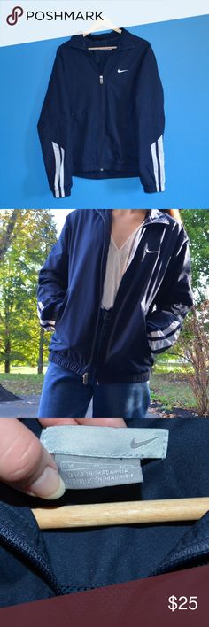 Nike Navy Blue Track Jacket Windbreaker EUC(literally awesome condition), this jacket is perfect for cool days, with a mesh inside and protective outside. Stripes on sleeve, two zipper pockets and full-zip. Men's M, can fit a women's XS-M/L. Nike Jackets & Coats