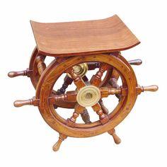 Steuerrad-Tisch/Hocker Holz/Messing, H: 39cm