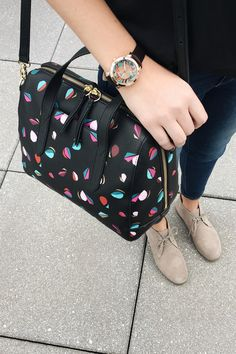 Our cut paper kaleido print meets the classic Sydney Satchel this Holiday.