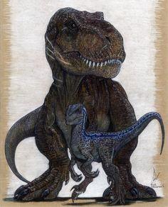 "illustrationsforinstance: "" Blue and Rexy, Jurassic Word original artwork prints. """