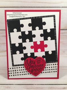 Libby Fens, Stampin' Up! Demonstrator - Independent Stampin' Up! Demonstrator Libby Fens offering original and creative paper crafting projects. I host monthly Card Buffets, specialty classes and weekly inspiration for card making. Puzzle Piece Crafts, Puzzle Pieces, Puzzle Art, Love Valentines, Valentine Day Cards, Love You To Pieces, Hand Made Greeting Cards, Stamping Up Cards, Love Cards