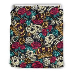 Are you looking for unique bedding sets for adults? We got you covered. All of our bedding sets have unique designs such as gothic bedding sets, skull bedding sets and more. Our bedding sets are super-soft, comfortable, and perfect for any season. Each bedding set comes with a duvet cover and 2 pillow covers. Blue Bedding Sets, Queen Bedding Sets, Gothic Bed, Bed Sheets, Pillow Inserts, Pillow Covers, Unique Bedding, Fabric, Skull