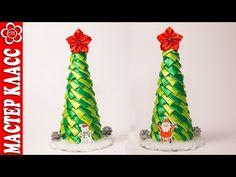 New Year Kanzashi / Video tutorial / DIY Christmas Arts And Crafts, Christmas Ribbon, Christmas Items, Xmas Crafts, Christmas Diy, Christmas Ornaments, Ribbon Decorations, Christmas Decorations, Fabric Balls