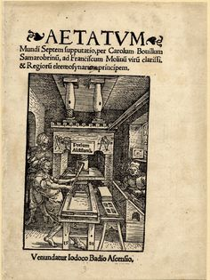 Title-page of 'Aetatum Mundi Septem ...', showing the interior of a workshop with a printing press operated by one man and two other men working, with five lines of letterpress, and the press described in type. 1520.