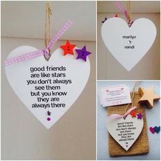 Personalised Handmade Good Friends Are Like Stars Heart Hanging Plaque.  These bespoke plaques are carefully handcrafted to order. They are 10cm x 10cm in size, made of wood and painted white. They are hand worded using black adhesive lettering to say the lovely quote good friends are like stars, you dont always see them but you know they are always there.  These plaques are then embellished with 2 coloured wooden button stars, placed just over the edge of the top right hand cove of the…