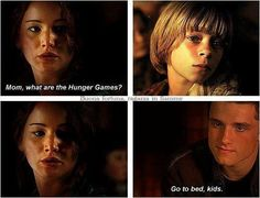 Mom, what are the Hunger Games ? - Katniss and Peeta's children - The Hunger Games: Mockingjay Hunger Games Plot, Hunger Games Memes, Hunger Games Mockingjay, Mockingjay Part 2, Hunger Games Catching Fire, Hunger Games Trilogy, Katniss Y Peeta, Katniss Everdeen, Jennifer Lawrence