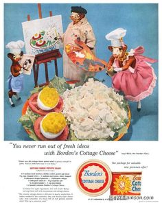 1956 Original Vintage Print Ad Borden's Cottage Cheese Elsie the Borden Cow Jello Recipes, Old Recipes, Vintage Recipes, Vintage Cooking, Vintage Food, Vintage Ads, Retro Ads, Retro Food, Vintage Stuff