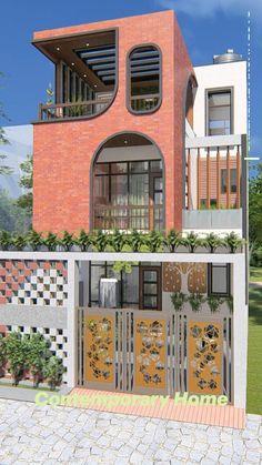House Arch Design, Duplex House Design, Unique House Design, Home Building Design, Facade Design, Exterior Design, Exterior Colors, Contemporary Architecture, Interior Architecture