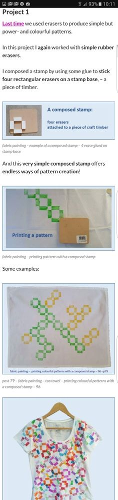 Fabric painting - composed stamps - Use little objects to create a stamp