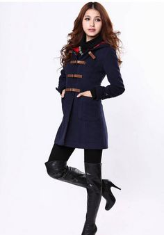 Classy Leather Buckle Hooded Women Wool Trench Coat - BuyTrends.com