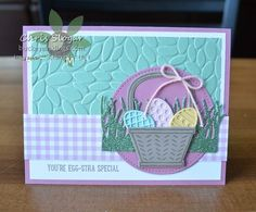 NEW Sale-a-bration Products Blog Hop, Stampin' Up! Basket Bunch with Mint Macaron Glimmer Paper