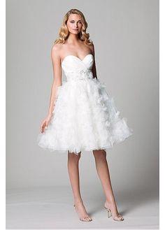 ADORABLE ORGANZA SATIN BALL GOWN STRAPLESS SWEETHEART NECKLINE EMPIRE WAIST SHORT BRIDAL DRESS