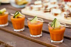 These gazpacho shooters with marinated cucumber ribbons are a refreshing appetizer that is easy to make and can be prepared in advance for large parties. The crunch of tangy marinated cucumbers provides a nice contrast to the smoothness of the gazpacho.