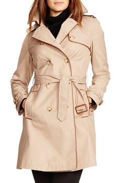 Lauren Ralph Lauren Faux Leather Trim Trench Coat (Plus Size) available at #Nordstrom