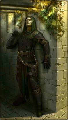 m Rogue Assassin 12th lvl Leather Armor Cloak Daggers urban city street ambush