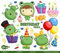 50%OFF!! Birthday Frog Clipart - Cute Clipart, Animal Clipart, Fun Clipart, Clipart Set, Adorable Digital Clip Art