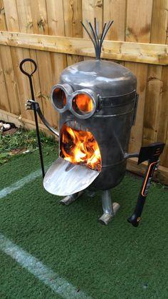 Lumberjack Minion inspired fire pit, Wine Holding Inspired Minion Fire Pit, Baseball Bat holding Minion Inspired Fire Pit. by CalgaryCreativeWork on Etsy https://www.etsy.com/listing/471819403/lumberjack-minion-inspired-fire-pit-wine