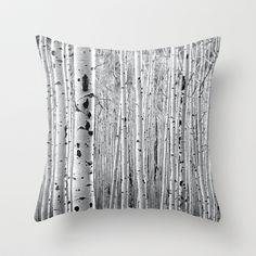 Aspen Tree Maze Throw Pillow by The Blonde Dutch Girl - $20.00
