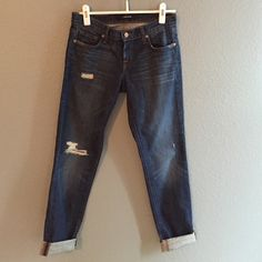 """Flash SaleJ Brand Aidan Boyfriend Jeans the perfect wardrobe staple! celebrity fav - Aidan distressed boyfriend jeans from J Brand in """"ringer"""" wash. excellent pre-loved condition. 30"""" inseam (not cuffed). waist is 14.25"""" flat hips seam to seam at crotch level is 18"""" flat. these are a relaxed boyfriend fit - please compare measurements to jeans you already own ;) size 24. just reduced - price firm :) J Brand Jeans Boyfriend"""
