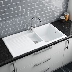 Reginox White Ceramic 1.5 Bowl Kitchen Sink   RL301CW