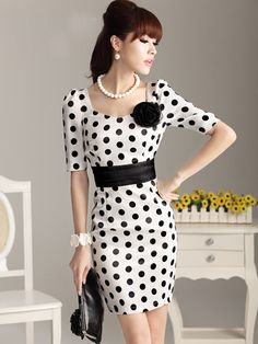 ladies dressed of various models and colors, if you need the top class texture of white floral sundress and latest design of green dress juniors, just search hot sales! fashion dresses black dots short sleeve satin women's dresses from annaluo. Cute Dresses, Casual Dresses, Fashion Dresses, Summer Dresses, Casual Wear, Vintage Dresses, Evening Dresses, Dress Skirt, Bodycon Dress