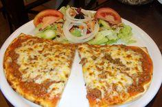 1/2 pizza do dia com salada mista