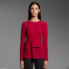 Narciso Rodriguez DesigNation Ruffle Peplum Top Berry Dark Pink Purple S kohls #NarcisoRodriguez #Blouse #Casual